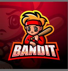 Bandit mascot esport logo design vector