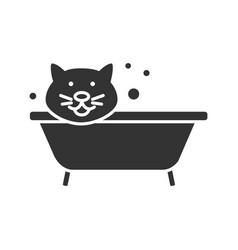 bathing cat glyph icon vector image