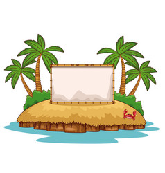 beach with blank frame vector image