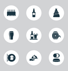 Beverages icons set with elite rum spacing vector