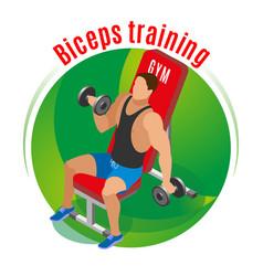 biceps training isometric background vector image