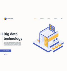 big data server machine isometric landing page vector image