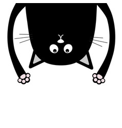 Black funny cat head silhouette hanging upside vector