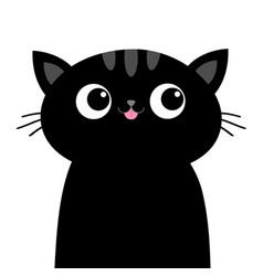 black sad cat head face with big eyes pink tongue vector image