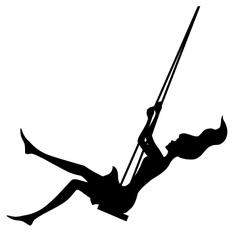 Black silhouette swinging girl on white vector