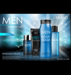 body care products for men body and face wash vector image