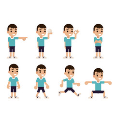boy in different poses and actions characters vector image
