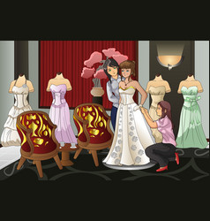 bride fitting her wedding gown vector image