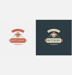 butcher shop logo pig head vector image