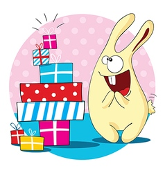 Cartoon bunny with a lot of presents vector image