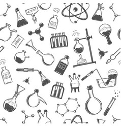 Chemistry seamless pattern with formulas and vector