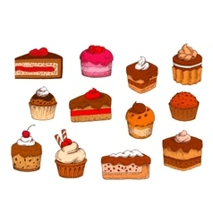 Chocolate fruit pastries and desserts sketches vector