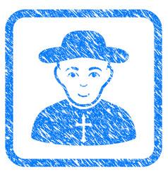 christian priest framed stamp vector image