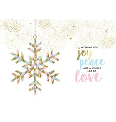 Christmas and new year gold snow decoration design vector