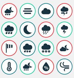 Climate icons set collection of lightning cloudy vector
