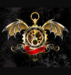 Clock with dragon wings vector