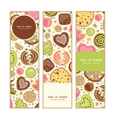 colorful cookies vertical banners set pattern vector image