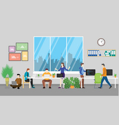 coworking space for team discussion in the modern vector image
