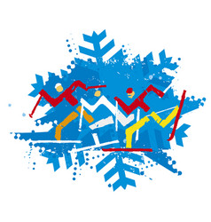 Cross country ski racers nordic skiing vector