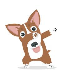 Cute dabbing dog cool cartoon vector
