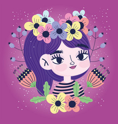 cute girl with flowers in head decoration vector image