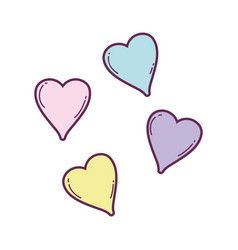 Cute hearts floating pastel colors vector