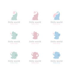 Cute little elephants logo set vector
