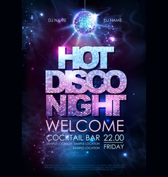 disco ball background hot disco night party vector image