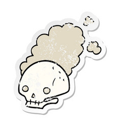 Distressed sticker of a cartoon dusty old skull vector