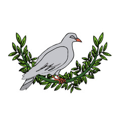 dove with olive branch peace emblem vector image