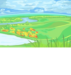 European flat landscape with river vector