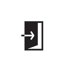 Exit icon black and white open door vector