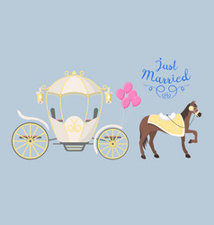 Fairy tale vintage carriage decoration with cute vector