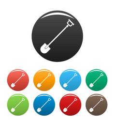 farm shovel icons set color vector image