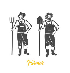 Farmer black and white vector