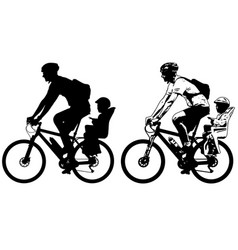 Father riding a toddler in bicycle baby seat vector