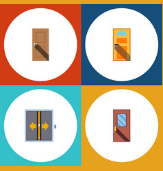 flat icon approach set of entrance exit door and vector image