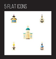 flat icon building set of catholic building vector image