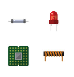 flat icon device set of resistor recipient unit vector image