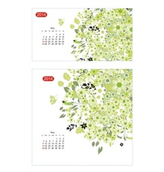 Floral calendar 2014 may vector image