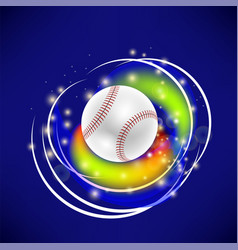flying baseball ball with yellow sparkles vector image