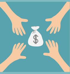 Four hands arms reaching to money bag dollar sign vector