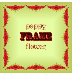 Frame with garland red poppy flowers and leaves vector