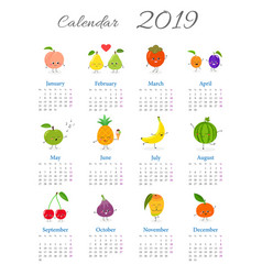 funny annual fruit calendar 2019 vector image