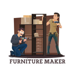 Furniture makers assembling cupboard with shelves vector