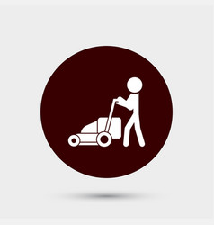 gardener with lawn mower icon simple gardening vector image