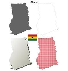 Ghana outline map set vector