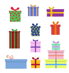 Gift box collection in flat style vector