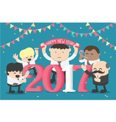 Group of Business celebrating New Year happy vector