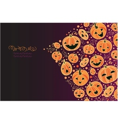 Halloween pumpkins corner decor background vector image